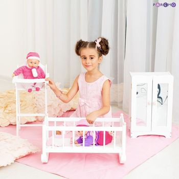 Furniture Toys PAREMO  A set of doll furniture (Chair + cradle + cabinet), White color for children toys for kids game furniture dolls doll houses furniture for bed for accessories doll for marie a
