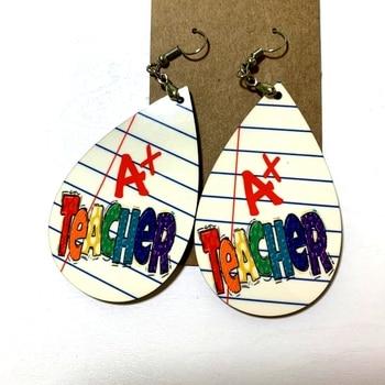A + Teacher-pendientes de piel sintética con forma de lágrima, aretes, diseño...