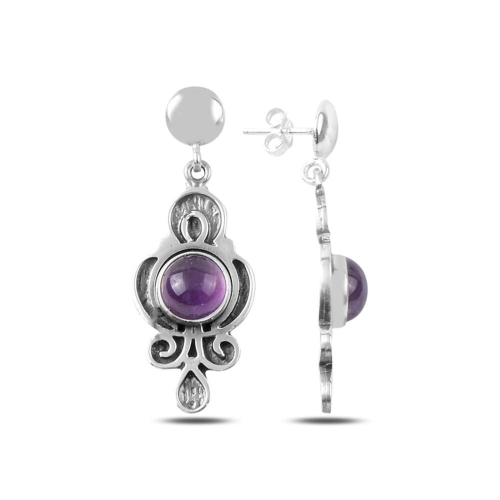 925 argent Sterling mode pierre naturelle à la main Vintage mode boucles d'oreilles bijoux conception élégante femme turquie argent