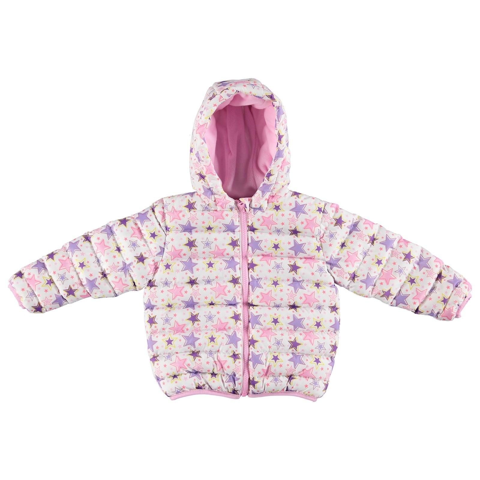 Ebebek HelloBaby Winter Star Printed Baby Hoodie Zippered Coat