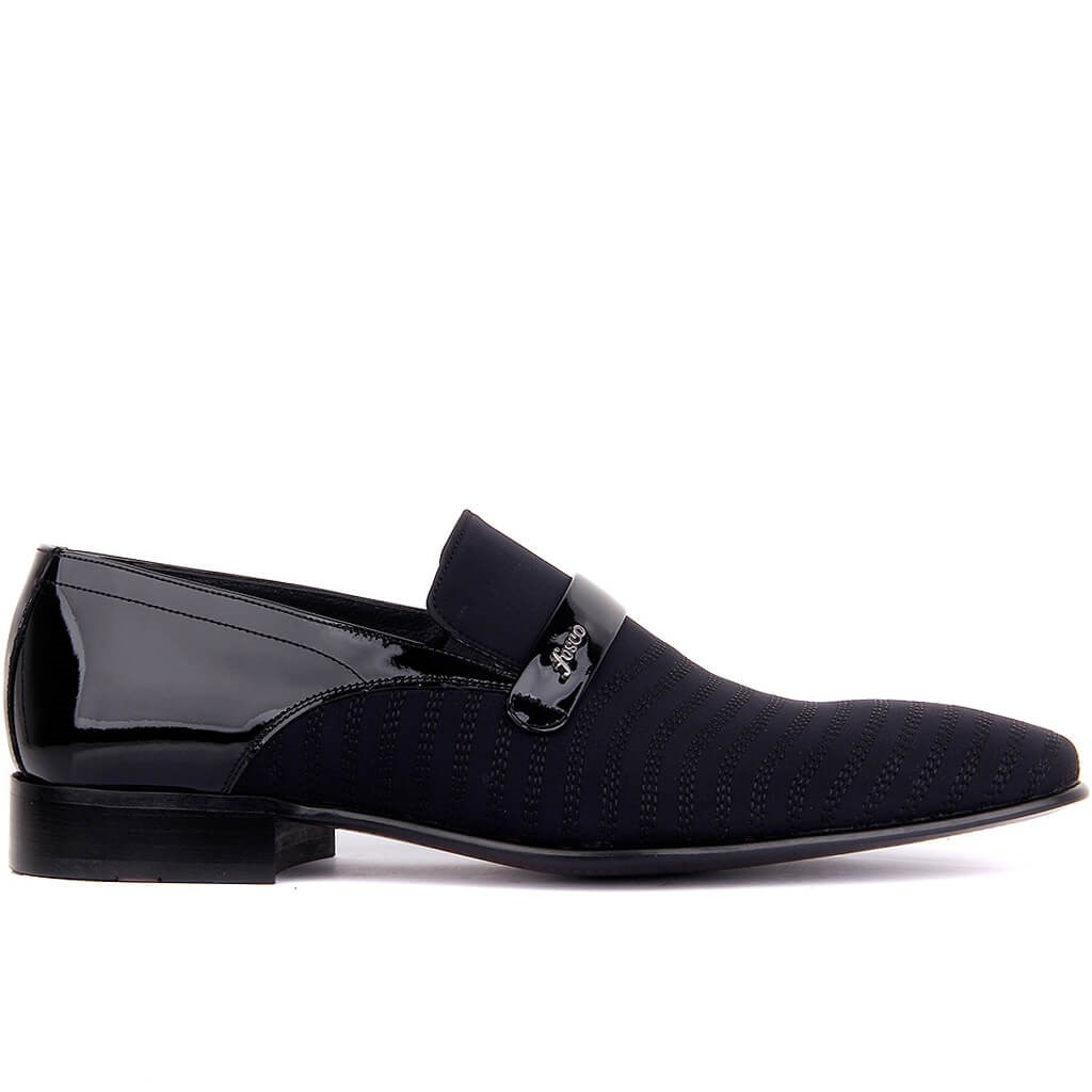 Fosco-sapatos clássicos masculinos de couro envernizado preto