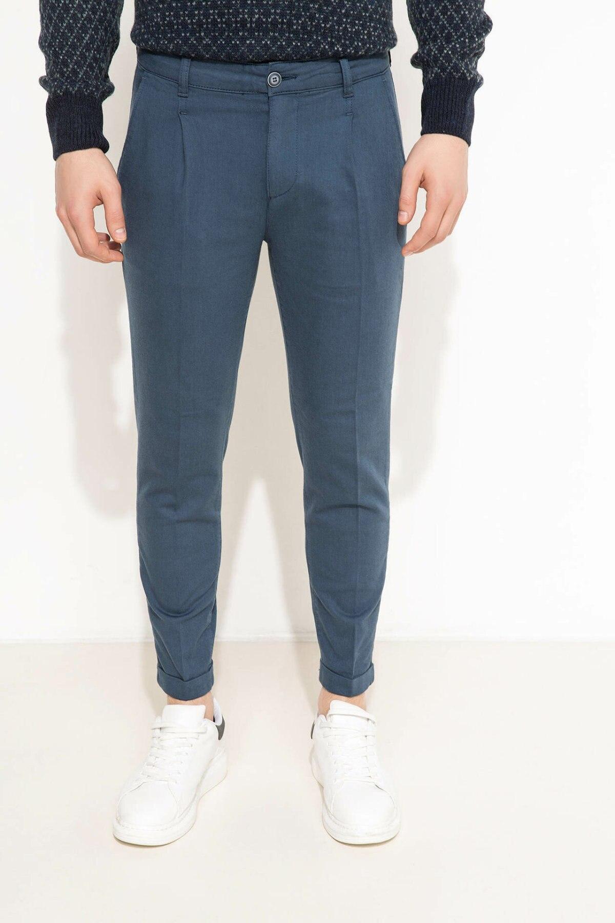 DeFacto Fashion Pure Color Zipper Men Pants Slim Casual Male Trousers Classic Style Pants For Men's New - H4297AZ17WN
