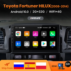 AWESAFE PX9 2 Din Android 10 For Toyota Fortuner Hilux 2007 2008 2012 2014 2015 Car Radio Multimedia Player Audio Gps Navigation