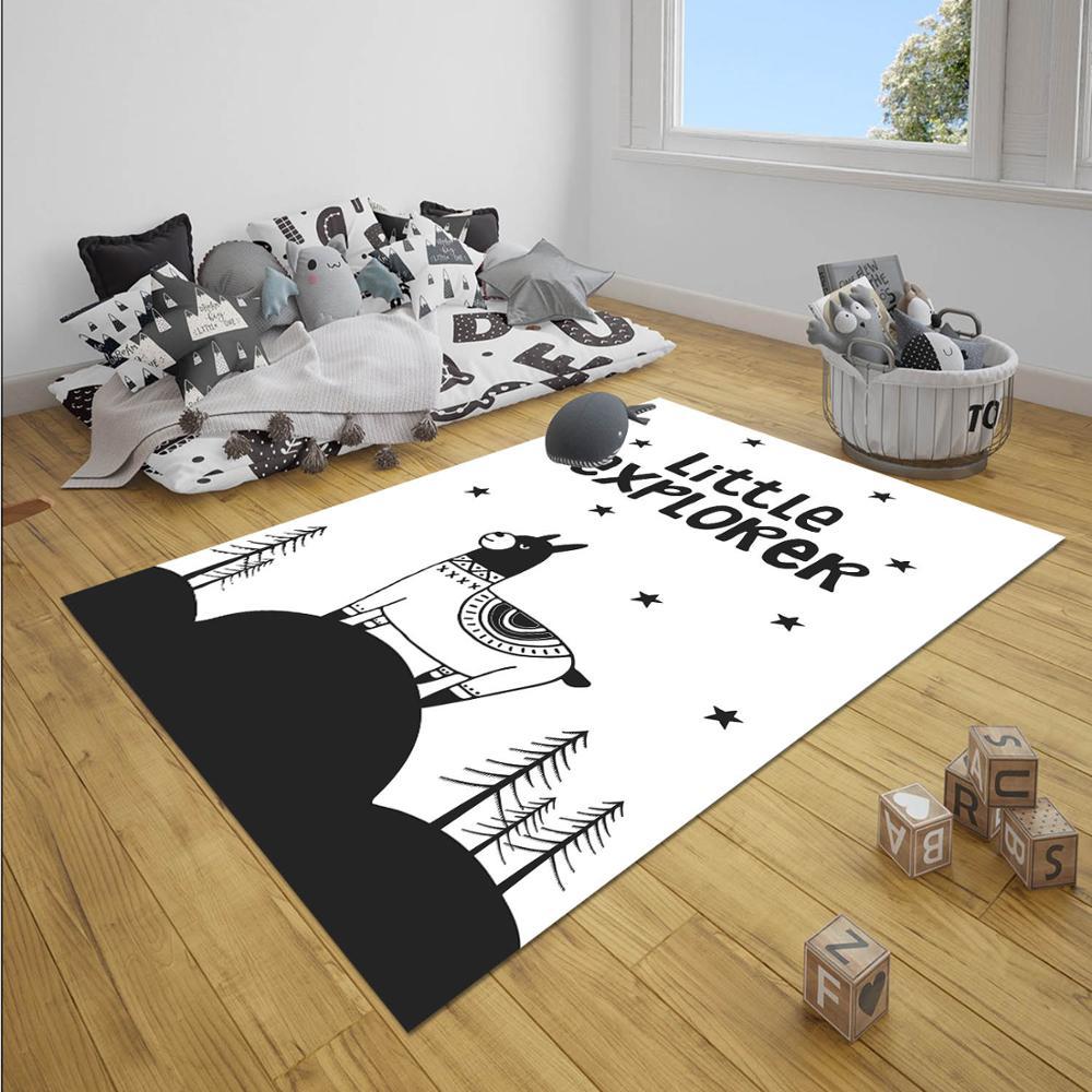 Else Black White Little Explorer Lama Mountain Boy 3d Print Anti Slip Microfiber Children Baby Kids Room Decorative Area Rug Mat