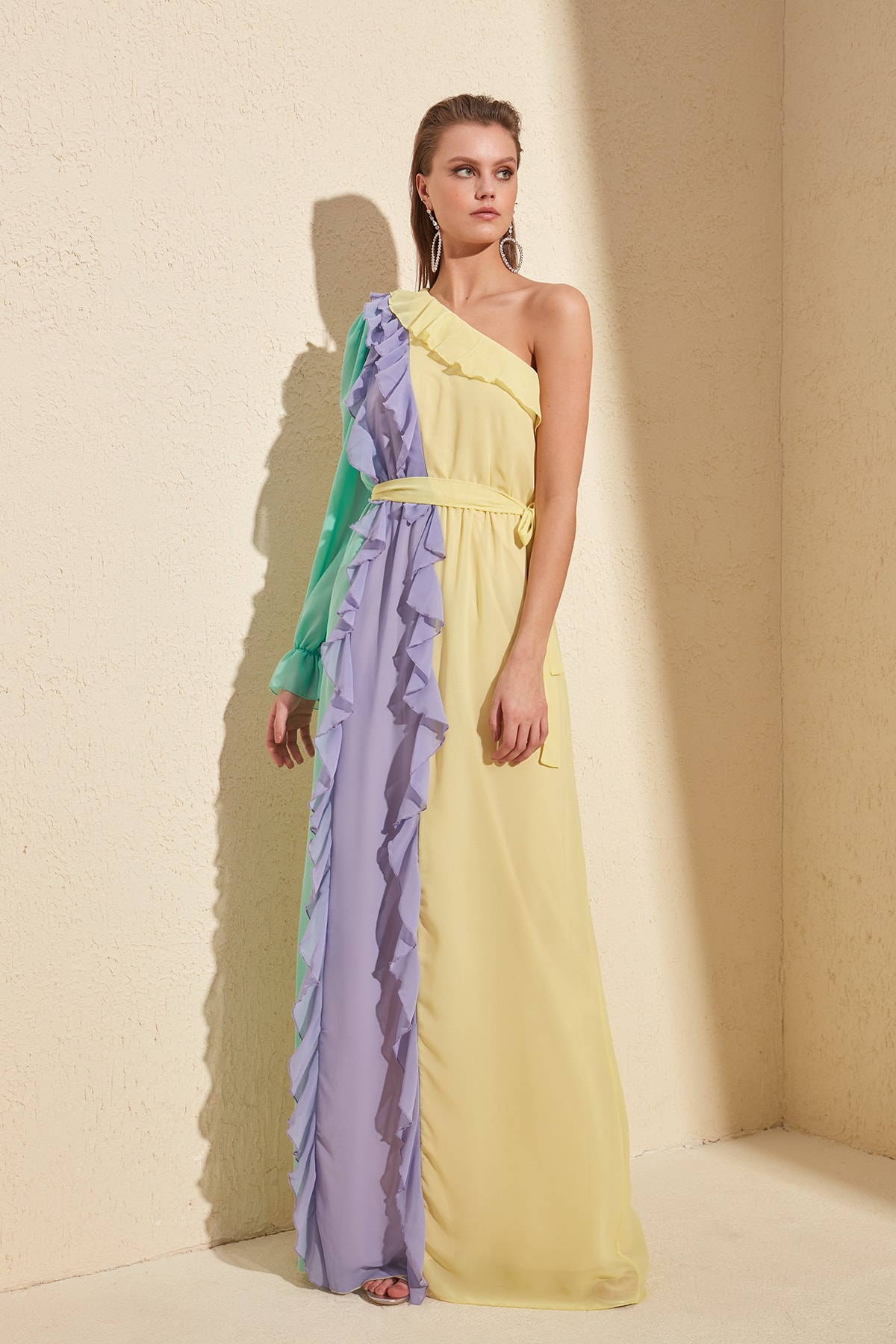 Trendyol With Color Block Evening Dress & Graduation Gown TPRSS20AE0053