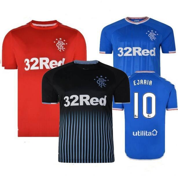 2019 hommes pour Glasgow Rangers Camiseta de futbol T-shirts manches courtes adulte mode décontracté course T-shirts