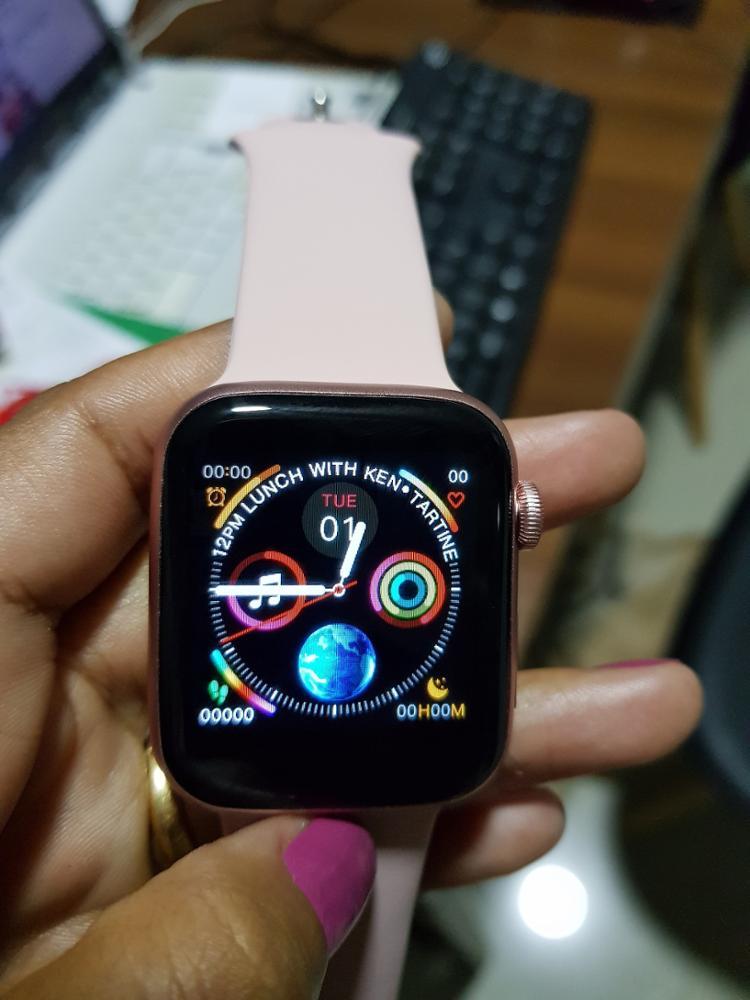 IWO8 Smartwatch+Earphone+Film/set 2019 IWO 8 MTK2502C Red Round Button 44MM Series 4 reloj deportivo hombre for iphone 6 7 X|Smart Watches| |  - AliExpress