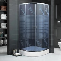 SUPER SET Bathroom Shower Roller Panel Cabin Cabinet Room Corner Shower Enclosure + Base FULL SET Chrome Finish Wall Mounted HG1