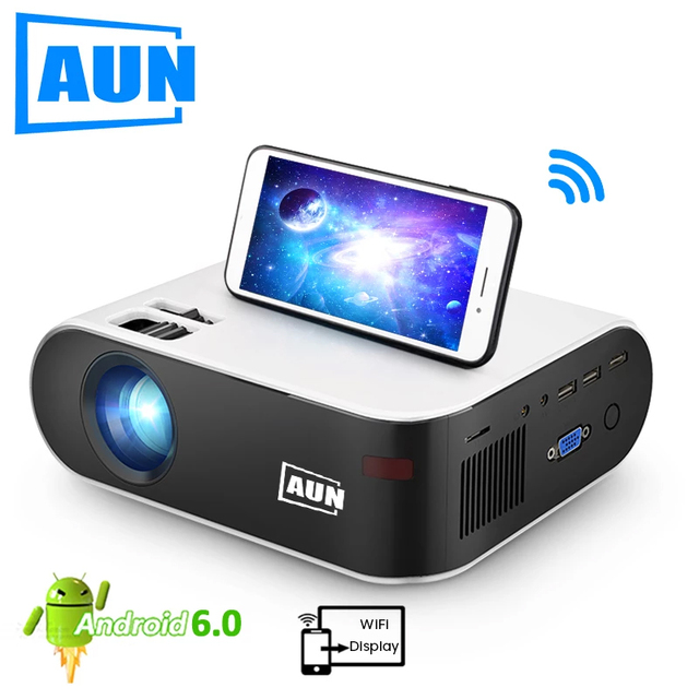 AUN MINI Projector W18, 2800 Lumens (Optional Android 6.0 wifi W18D), support Full HD 1080P LED Projector 3D Home Theater 1