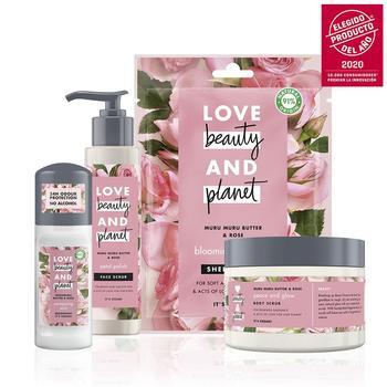 LOVE BEAUTY AND PLANET Set Exfoliante Corporal y Facial, Desodorante Roll-on y...