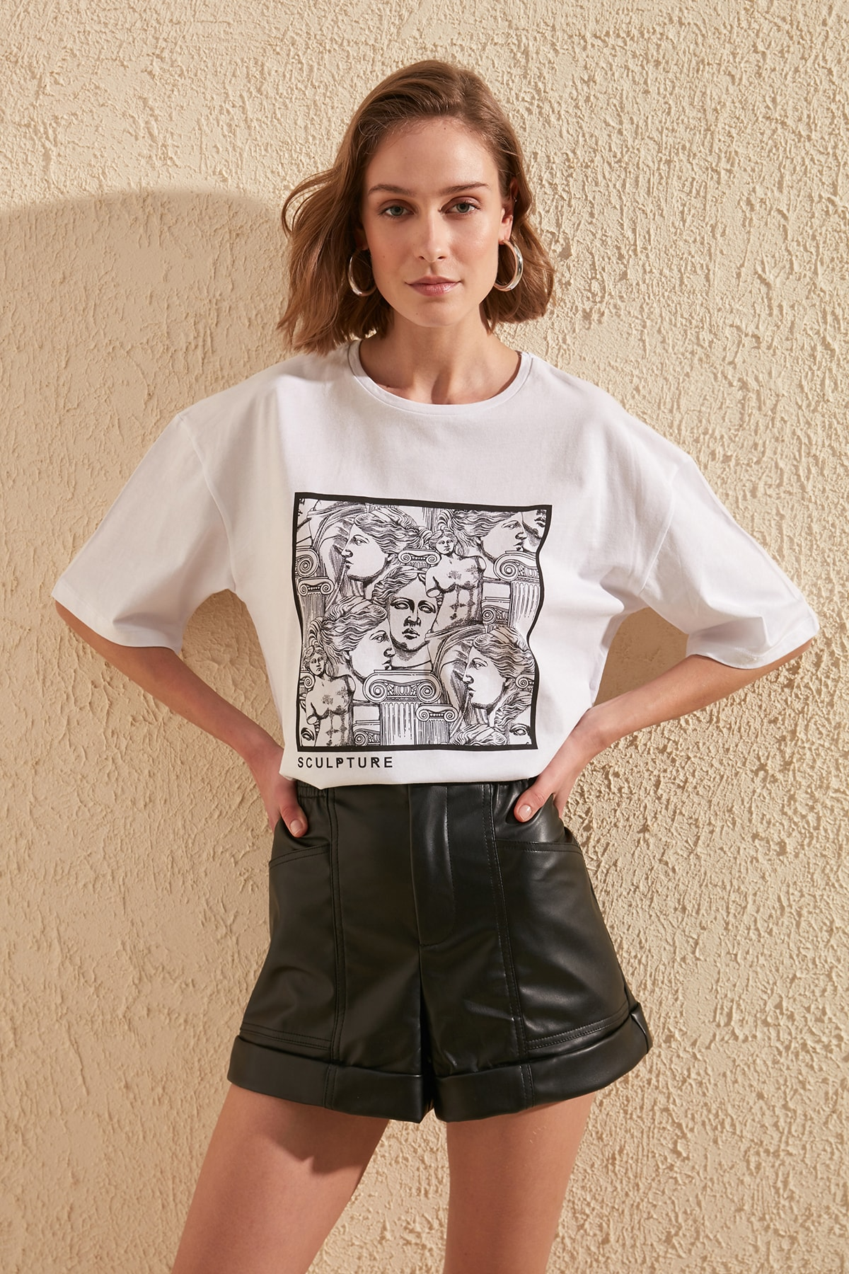 Trendyol Printed Loose Mould Knitted T-Shirt TWOSS20TS0110