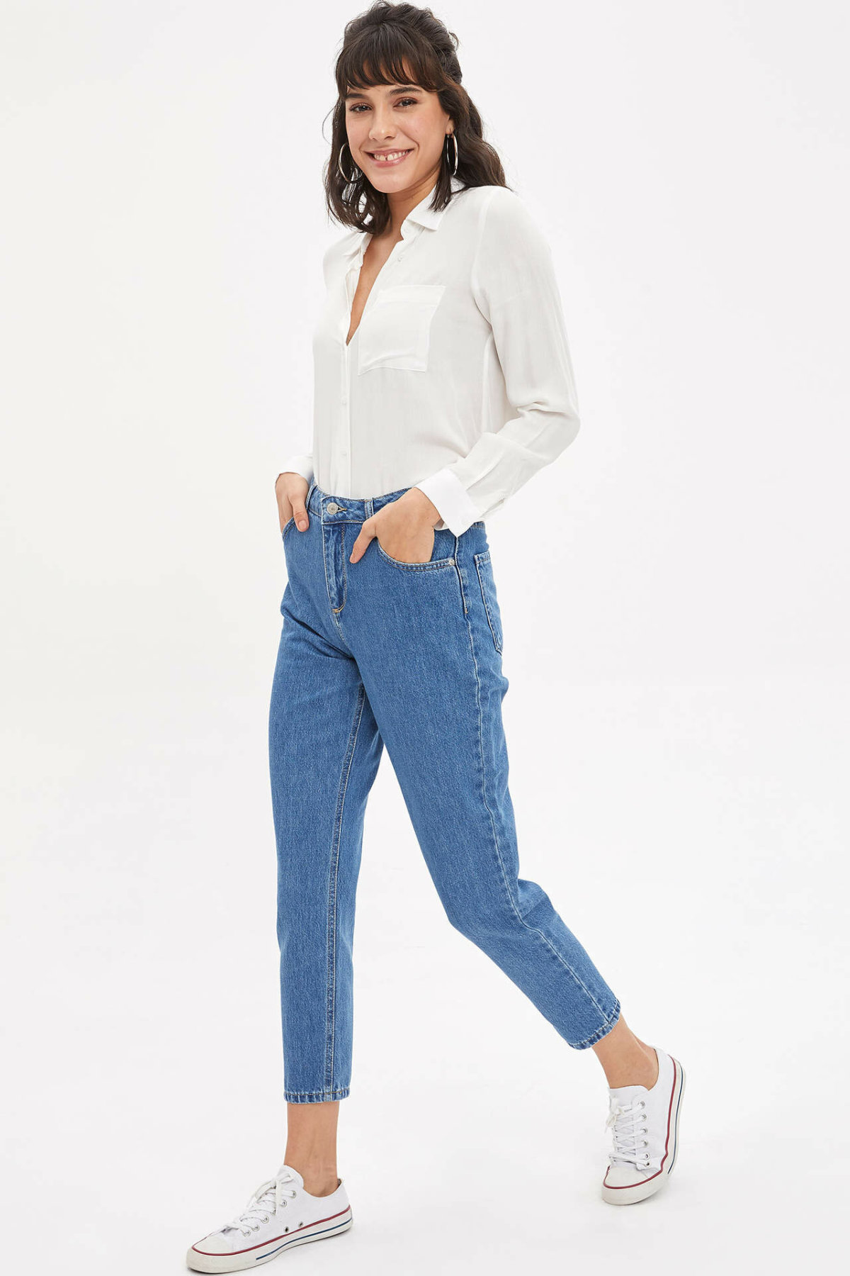 DeFacto Woman Spring Blue Denim Jeans Women Casual NInth Denim Pants Female Denim Trousers-K9063AZ20SP
