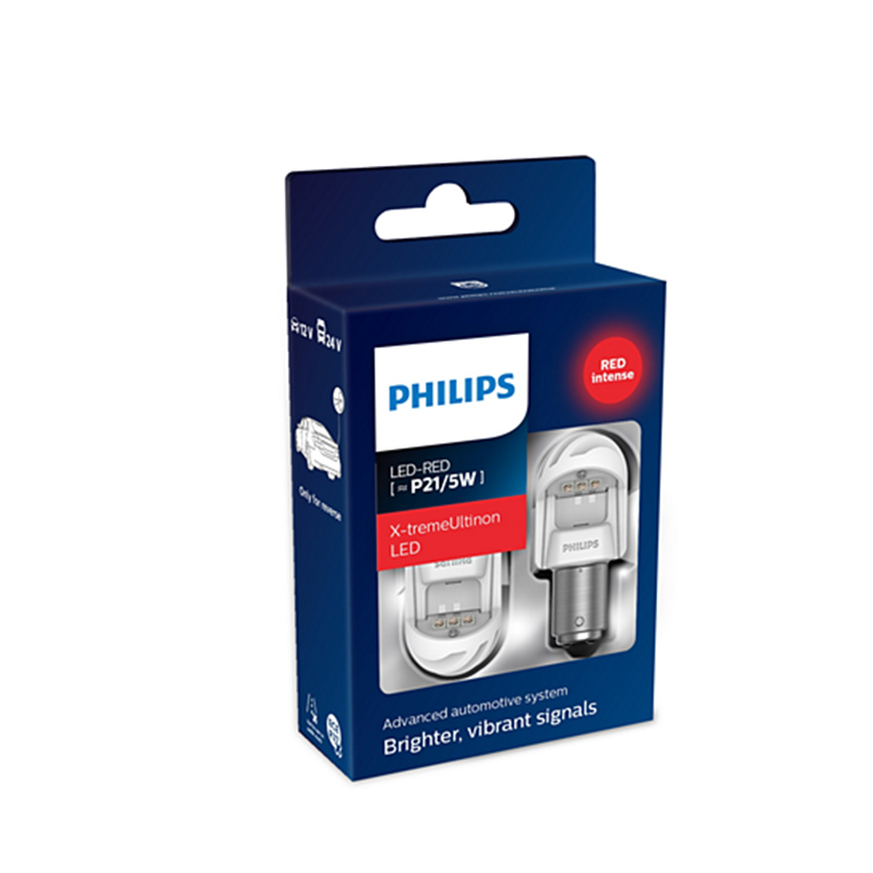 PHILIPS 11499XURX2 P21/5 W 12 V/24 V-LED (BAY15d) 2.2/0.3W rouge x-tremeultinon LED Gen2 (K. pack. 2 pièces) 62850