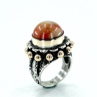 925 Sterling Silver Hand Production Dome Design Natural Coral Authentic Ring