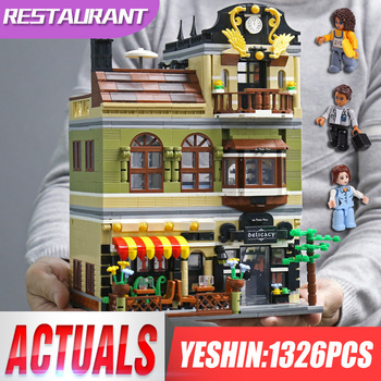 Yeshin Street Building Toys Compatible With 10243 MOC Chinese Restaurant Building Blocks Bricks New Kids Christmas Gifts