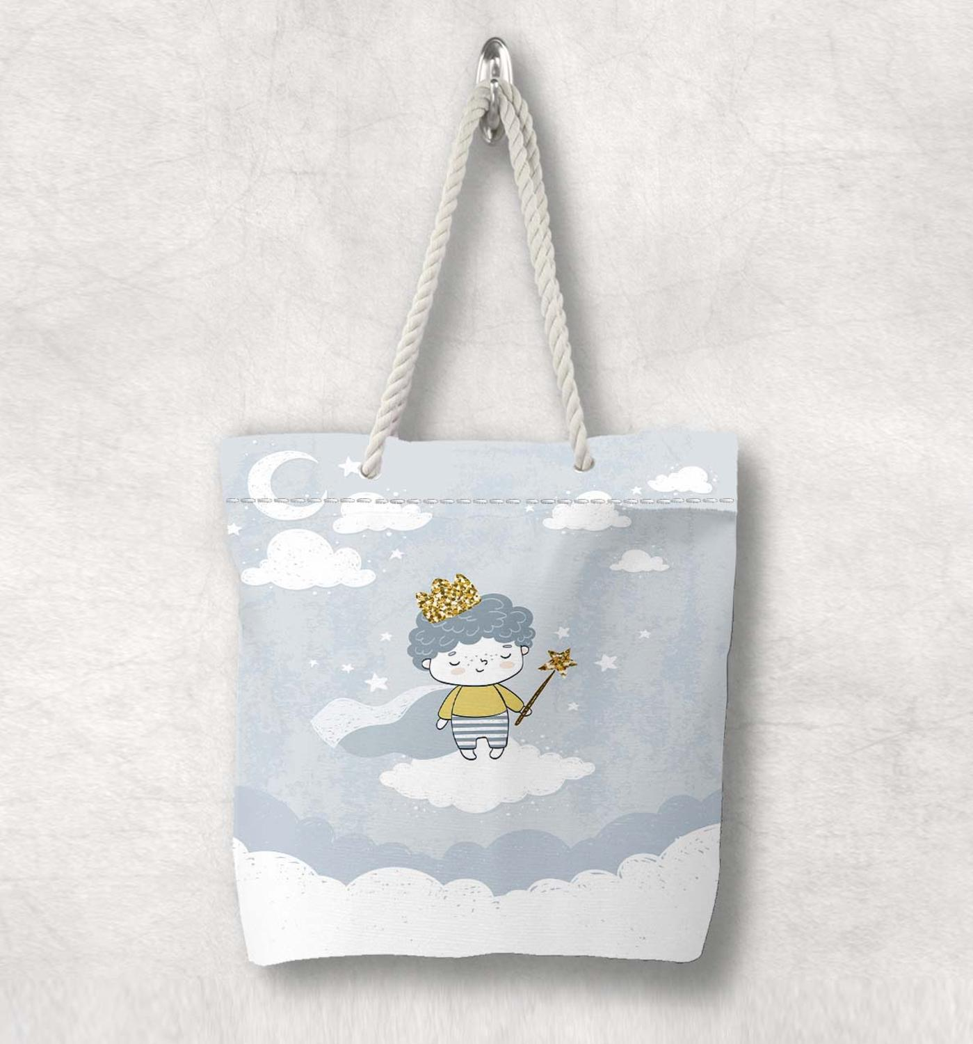 Else Gray White Clouds Moon Little Prince New Fashion White Rope Handle Canvas Bag  Cartoon Print Zippered Tote Bag Shoulder Bag