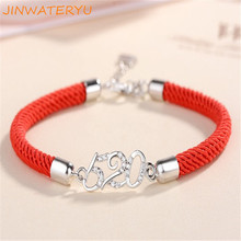 2019 jinwateryu 925 pure silver bracelet red rope 520 1314 lucky couple bracelet love you forever fashion love forever rose pattern bracelet silver