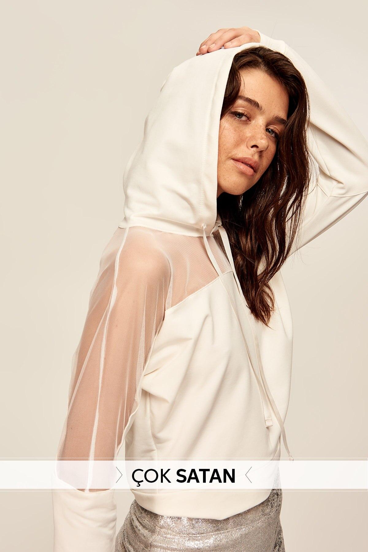 Trendyol Ecru Hooded Knitted Sweatshirt TWOAW20SW0211
