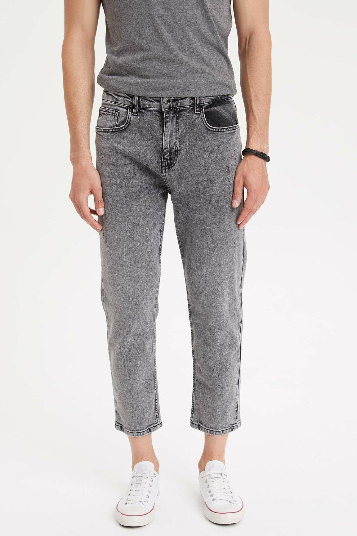DeFacto Man Summer Light Grey Washed Ninth Denim Jeans Men Casual Straight Bottom Male Mid-waist Jeans Trousers-L3509AZ19SM