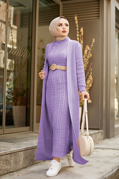 New Version 2 Pieces Woman Dress Knitted Suit Long Cardigan and Maxi dress Muslim