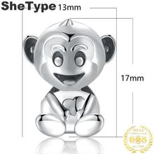 1.7x1.3cm Cute little monkey 3.1g Charm Silver 925 Sterling Silver Gift For Boys Charms Jewelry DIY 2019