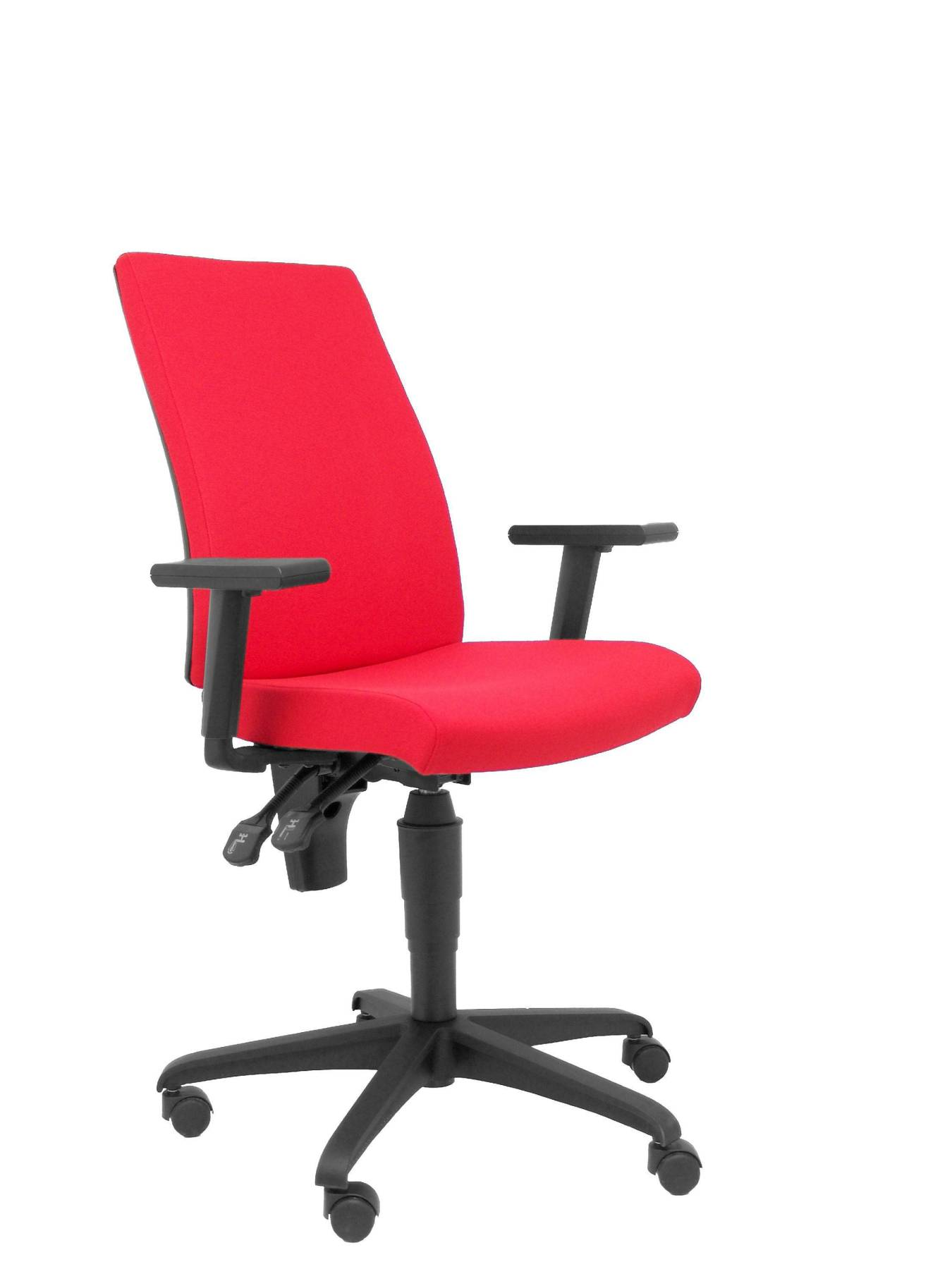 Chair's Office Desk Ergonomic, Swivel And Dimmable In High Altitude-up Seat And Backstop Upholstered In Tissue ARAN Red Color P