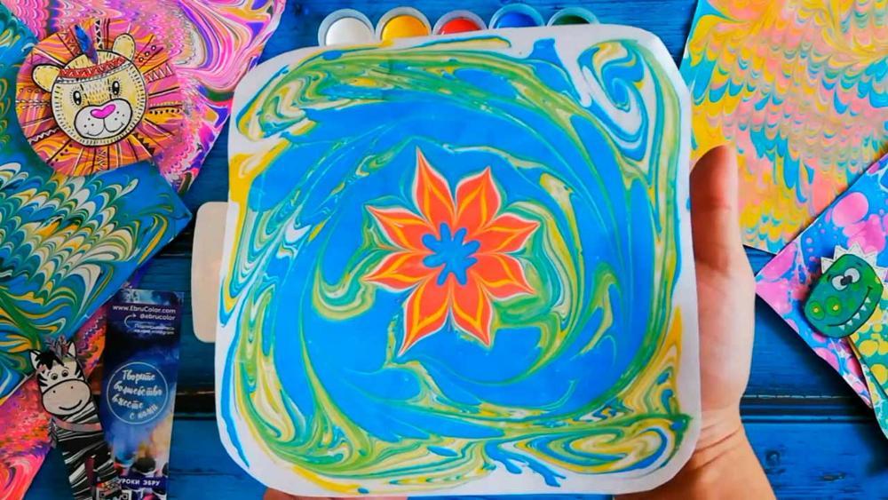 Enfants à base d'eau art peinture ensemble marbrure peinture Kit peinture à la main sur l'eau Art créatif ensemble de 6 couleurs peinture acrylique - 6