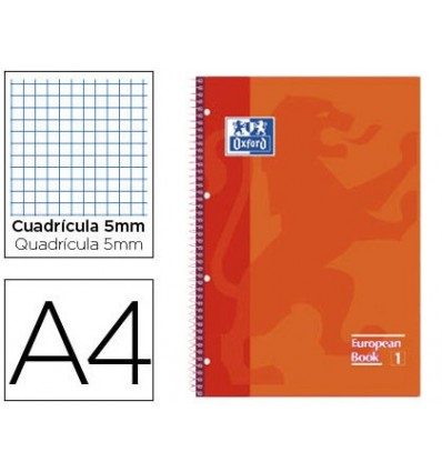 NOTEPAD SPIRAL OXFORD TOP EXTRADURA MICROPERFORATED DIN A4 80 SHEETS TABLES 5 MM ORANGE COLOR