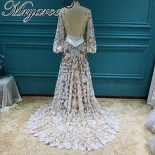 Mryarce 2020 Moderne Braut Einzigartige Spitze Langarm Boho Hochzeit Kleid Bohemian Brautkleider