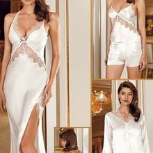 GOOD QUALITY SATIN FABRIC Women 'S 6-Piece Satin Laced Raw White Bridal LACE DETAILED SLEEPWEAR SETS