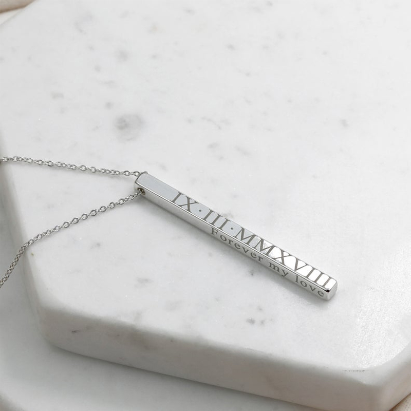 Four Sides Engraving Personalized Square Bar Custom Name Necklace Stainless Steel Pendant Necklace Women/Men Gift Nadzyjnik