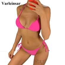 Seksi Neon pembe brezilyalı Bikini 2021 kadın mayo Halter mayo kadın iki parçalı Bikini seti Bather mayo yüzmek V1312P
