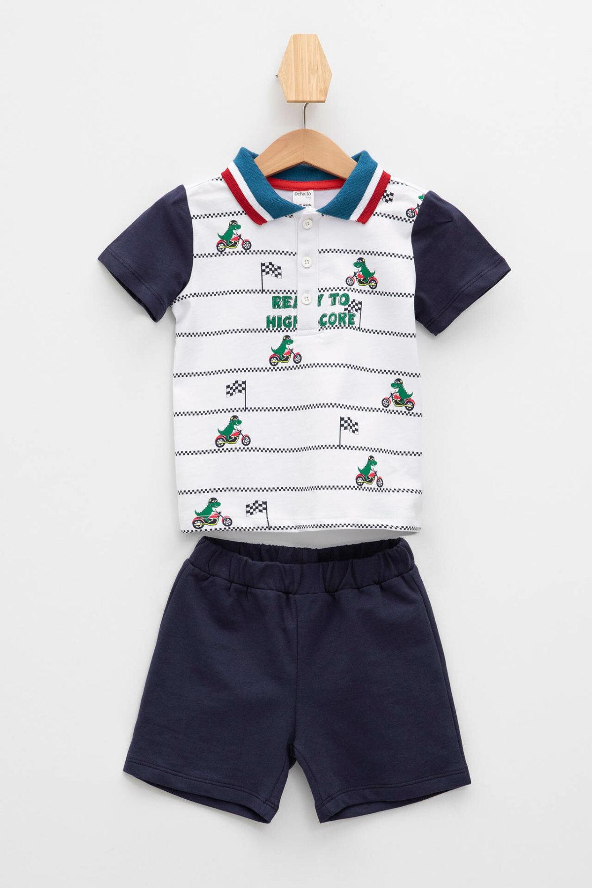 DeFacto Fashion BabyBoy Casual Set Kids Lapel Cute Pattern T-shirt Shorts Boys Comfortable Sets Summer New - K8294A219SM