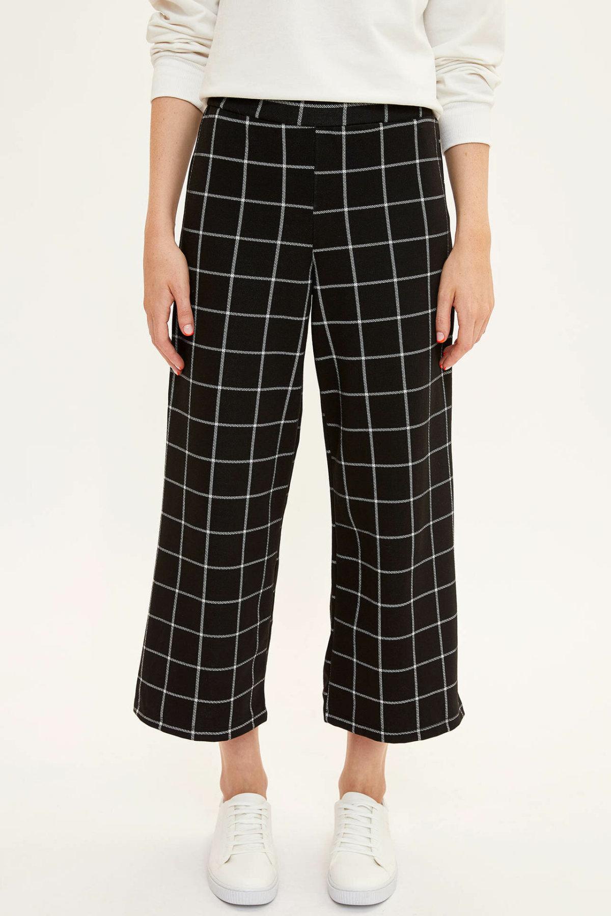 DeFacto Female Fashion Plaid Leisure Loose Trousers For Ladies Casual Striaght Pants Comfort Crop Pants Women's New-L4136AZ19AU