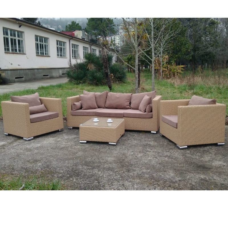 Set Outdoor Soft Furnishings, Home/outdoor Sofa Set 2 Faux Rattan Chair And Table For Living Room Or Terrace.