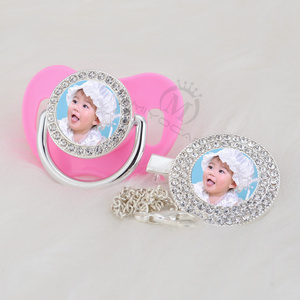 Image 1 - MIYOCAR custom pacifiers dummy any name photo silver bling pacifier and pacifier clip BPA free dummy bling amazing design P 1 P