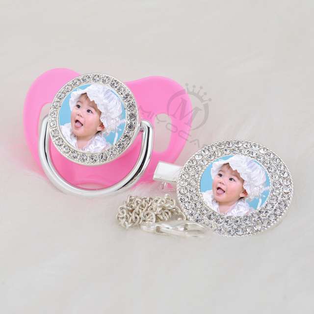 MIYOCAR custom pacifiers dummy any name photo silver bling pacifier and pacifier clip BPA free dummy bling amazing design P 1 P