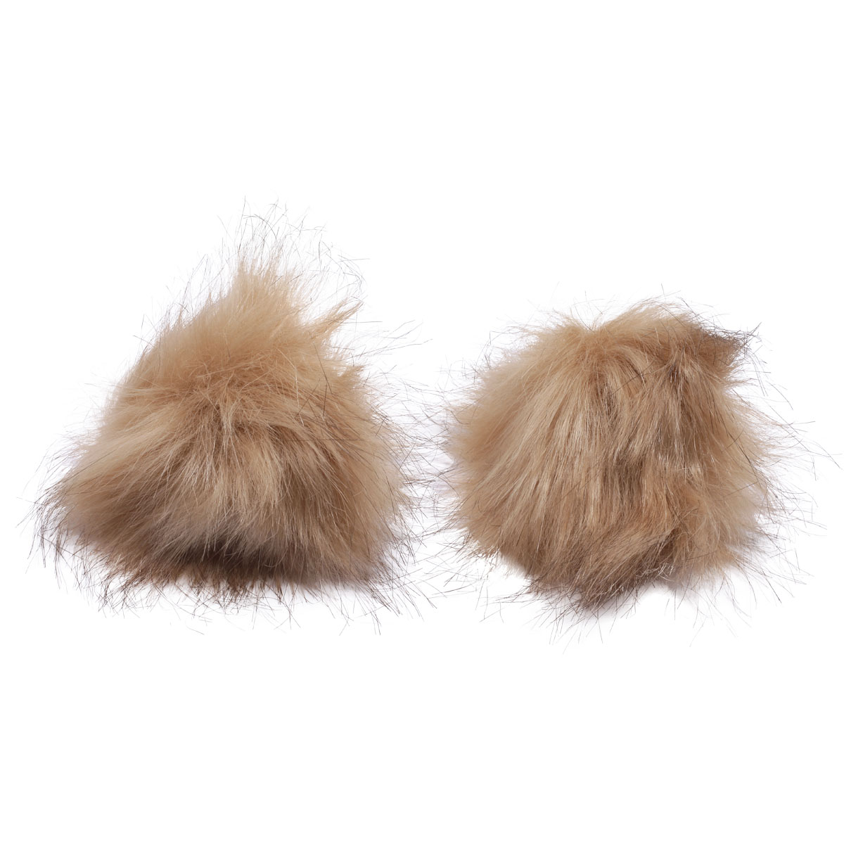 Pompoms Made Of Artificial Fur (Fox), D-8cm, 2 Pcs/pack (mustard)