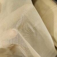 Italian elastic soft mesh tulle fabric, Beige color, 4 way stretch, fatin, width 180cm, 100% nylon, sewing, garment diy design