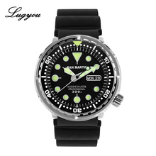 LUGYOU San Martin TUNA Automatic Mens Diving Watch Stainless Steel 30Bar Waterproof Silicone Strap Super Glow Sapphire Date
