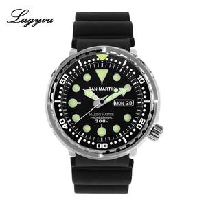 Image 1 - LUGYOU San Martin TUNA automatyczny męski zegarek do nurkowania ze stali nierdzewnej 30Bar wodoodporny pasek silikonowy Super Glow Sapphire data