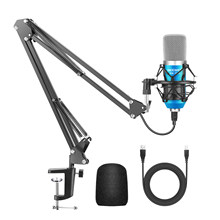 Neewer micrófono usb para Windows y Mac con suspensión, soporte de brazo de tijera, montaje de impacto y kit de abrazadera de montaje de mesa para sonido