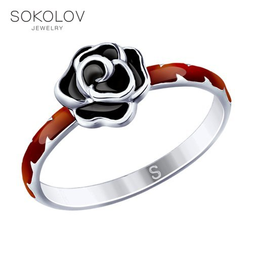 Ring. Sterling Silver With Enamel Fashion Jewelry 925 Women's Male