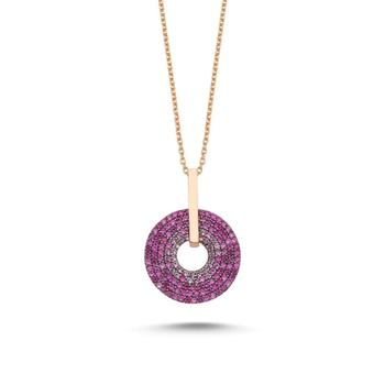 925 Sterling Silver Necklace Jewelry Pink Zircon Stone  Moving Stylish Women Gift Quality Jewelryes from Turkey