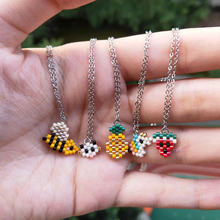 FAIRYWOO Cute Necklace Animal Jewelry Unicorn Bee Watermelon Pineapple Cat Tiny Pendant Necklaces Women Collare Choker Kid Gifts