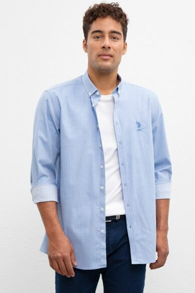 U.S. POLO ASSN. Blue Dobby Regular Shirt