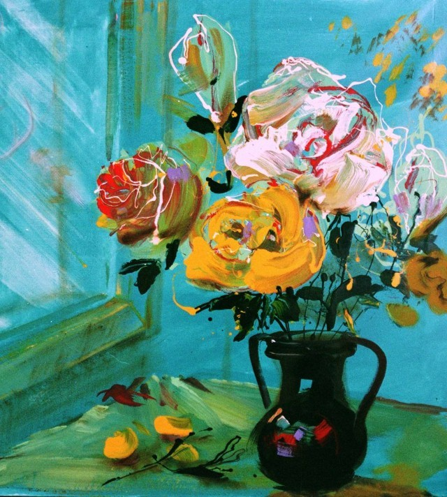 Painting By Numbers Flowers At The Window, 40x50 Cm