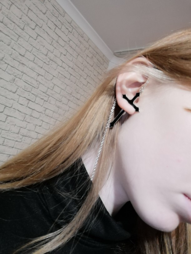 Cross Drop Earring with chain Egirl photo review