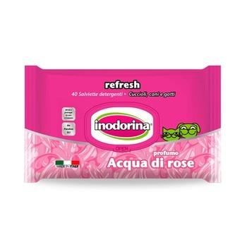 INODORINA REFRESH 40 Toallitas Limpiadoras para Mascotas con Fragancia a Rosas