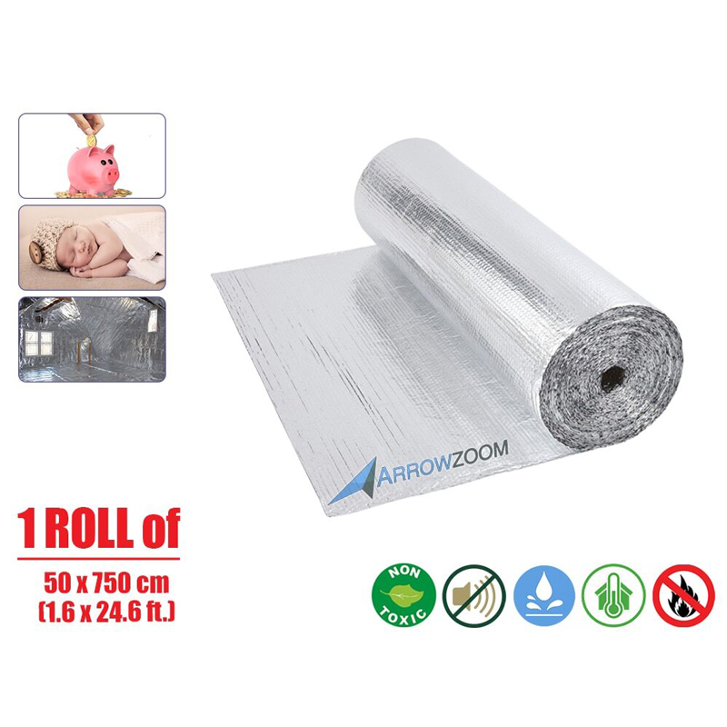 Arrowzoom 1 Roll 40 Sq. Ft. Heat Double Bubble Solar Attic Floor Thermal Foil Reflective Insulation (1.6 X 24.6 Ft.)